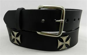 Leather belt with maltese conchos